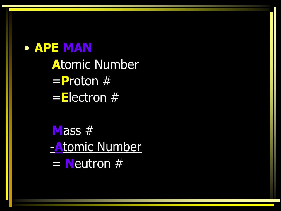 APE MAN Atomic Number =Proton # =Electron # Mass # -Atomic Number = Neutron #