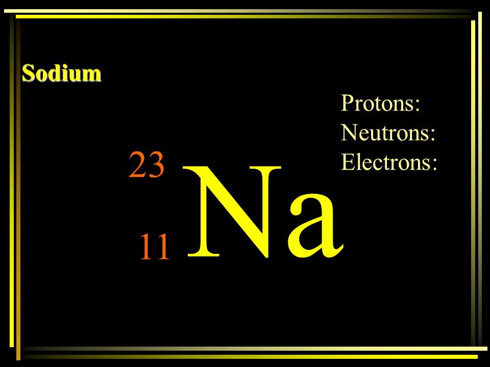 Sodium Protons: Neutrons: Electrons: Na 23 11