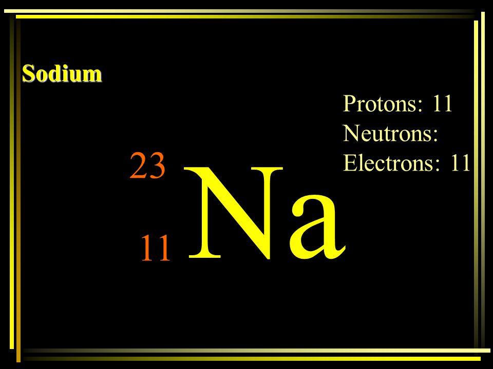Sodium Protons: 11 Neutrons: Electrons: 11 Na 23 11