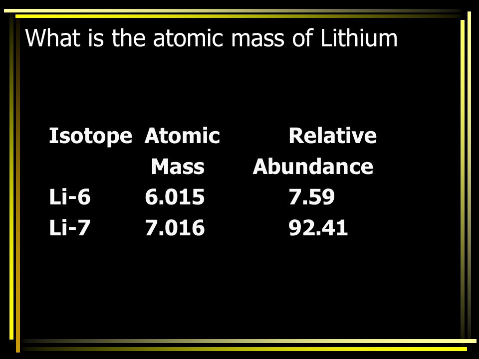 What is the atomic mass of Lithium
