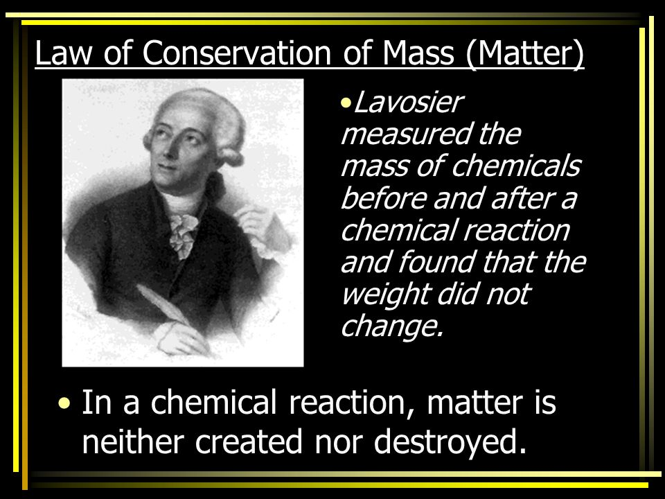 Law of Conservation of Mass (Matter)