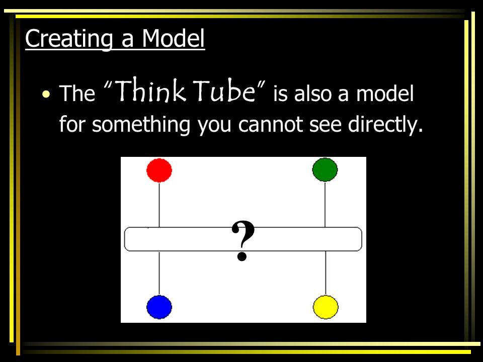 Creating a Model The Think Tube is also a model for something you cannot see directly.