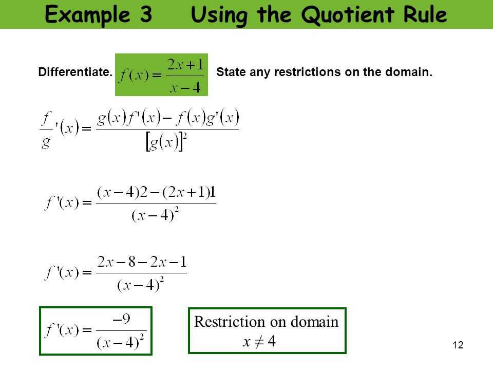 u2 l5 quotient rule quotient rule ppt video online download