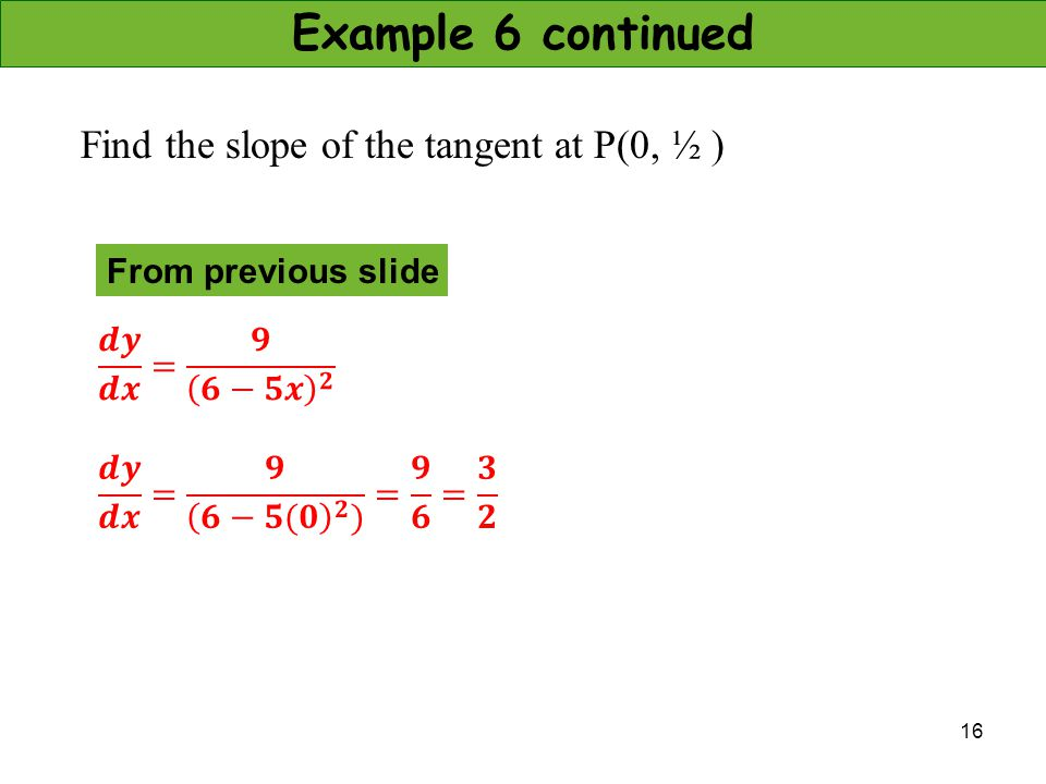 Example 6 continued Find the slope of the tangent at P(0, ½ )