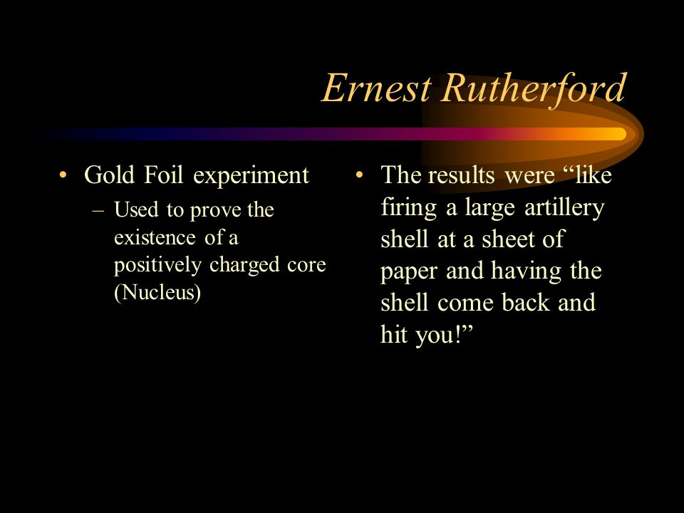 Ernest Rutherford Gold Foil experiment