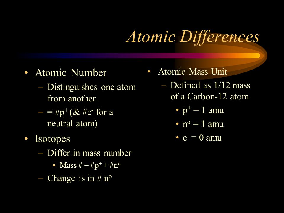 Atomic Differences Atomic Number Isotopes Atomic Mass Unit