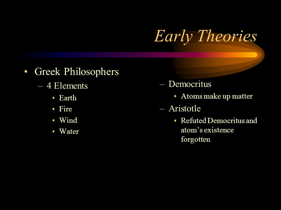 Early Theories Greek Philosophers Democritus 4 Elements Aristotle