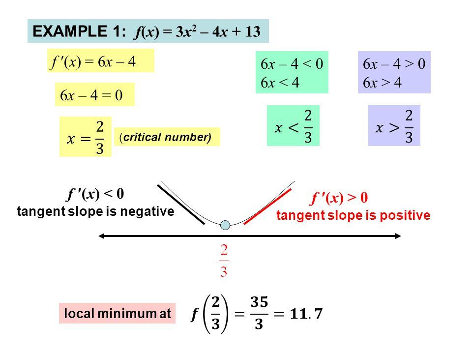 EXAMPLE 1: f(x) = 3x2 – 4x + 13 f ′(x) = 6x – 4 6x – 4 < 0