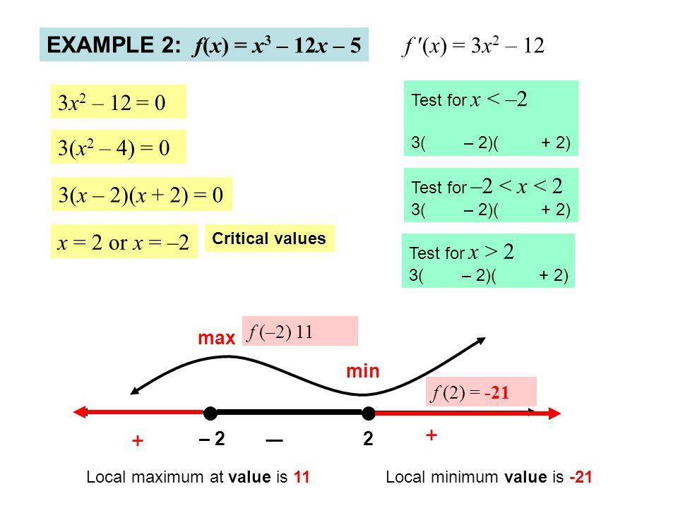 EXAMPLE 2: f(x) = x3 – 12x – 5 f ′(x) = 3x2 – 12 3x2 – 12 = 0