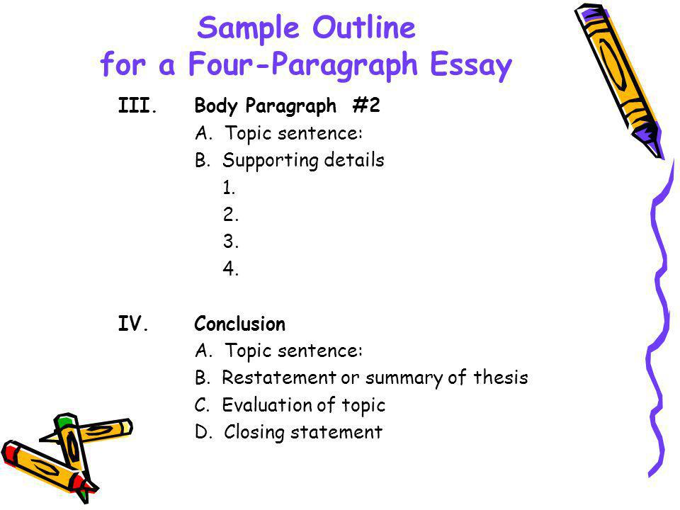 four block essay outline The most widely used business letter formats are full block and modified block you can also use the memo format, which is a form of business correspondence used mostly within an organization also, the first four components: to, from, date, and subject as well as cc can appear as above, including the.