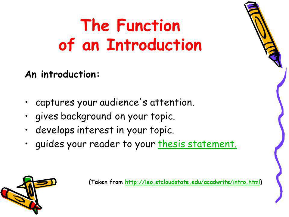 The Function of an Introduction