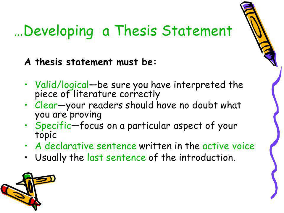 write a thesis sentence Not only does the introduction contain your thesis statement, but it provides the  initial  argument, your writing style, and the overall quality of your work a clear .