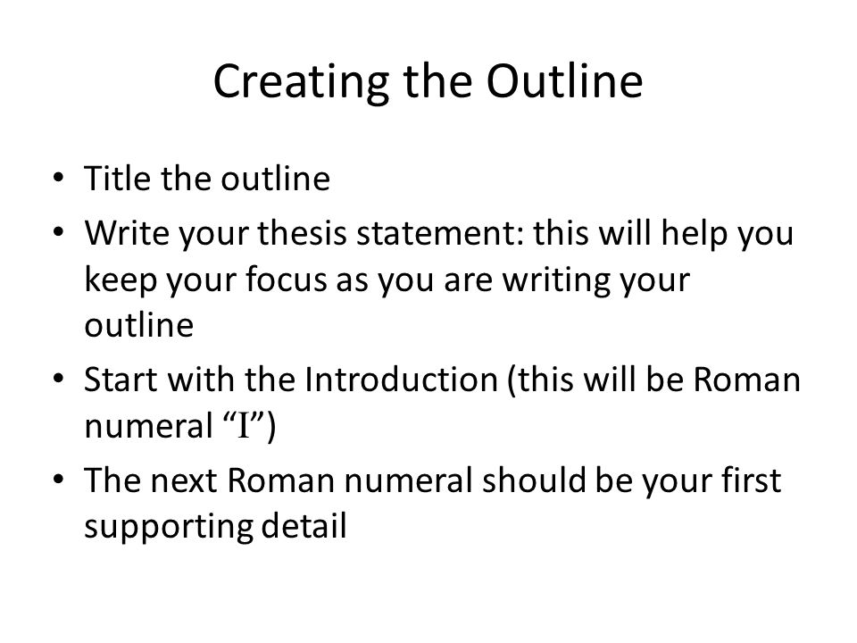 Creating the Outline Title the outline