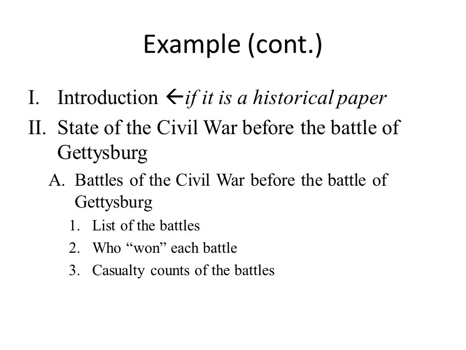 Example (cont.) Introduction if it is a historical paper
