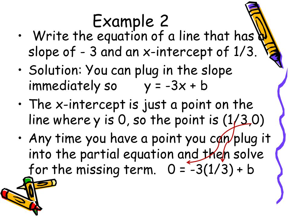 Example 2 Write the equation of a line that has a slope of - 3 and an x-intercept of 1/3.
