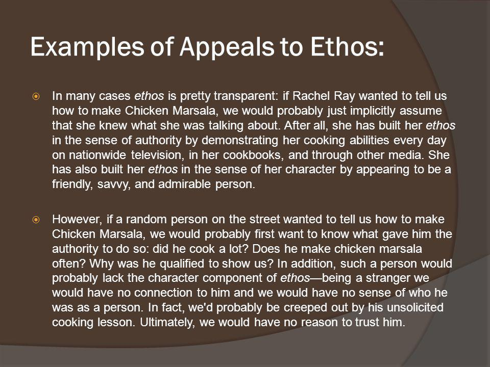 Examples of Appeals to Ethos: