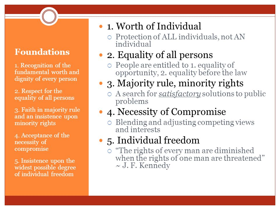 2. Equality of all persons 3. Majority rule, minority rights
