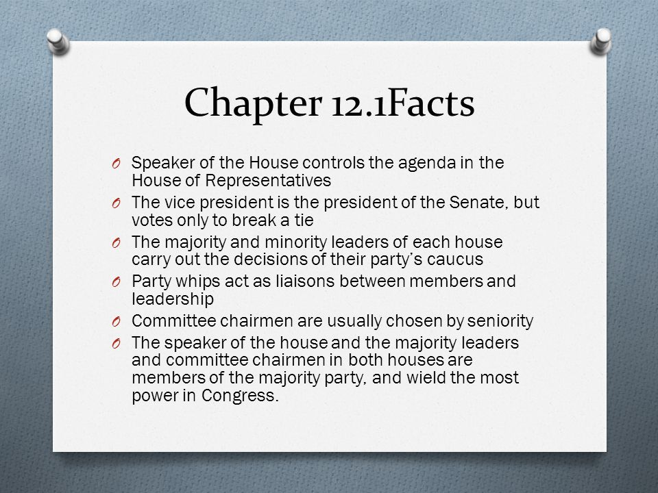 Chapter 12.1Facts Speaker of the House controls the agenda in the House of Representatives.