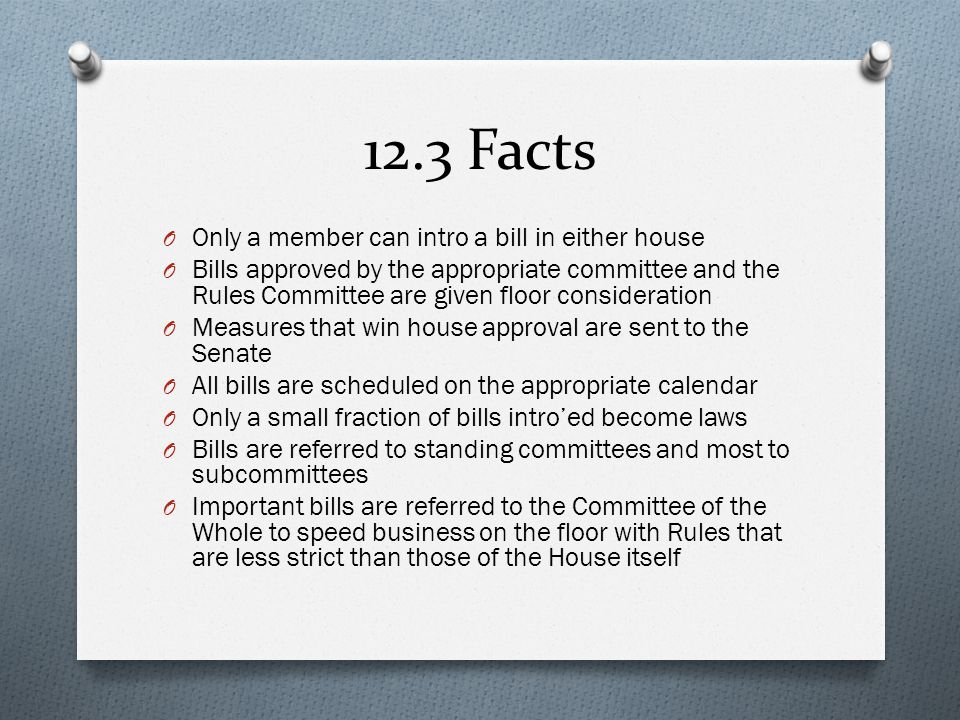12.3 Facts Only a member can intro a bill in either house