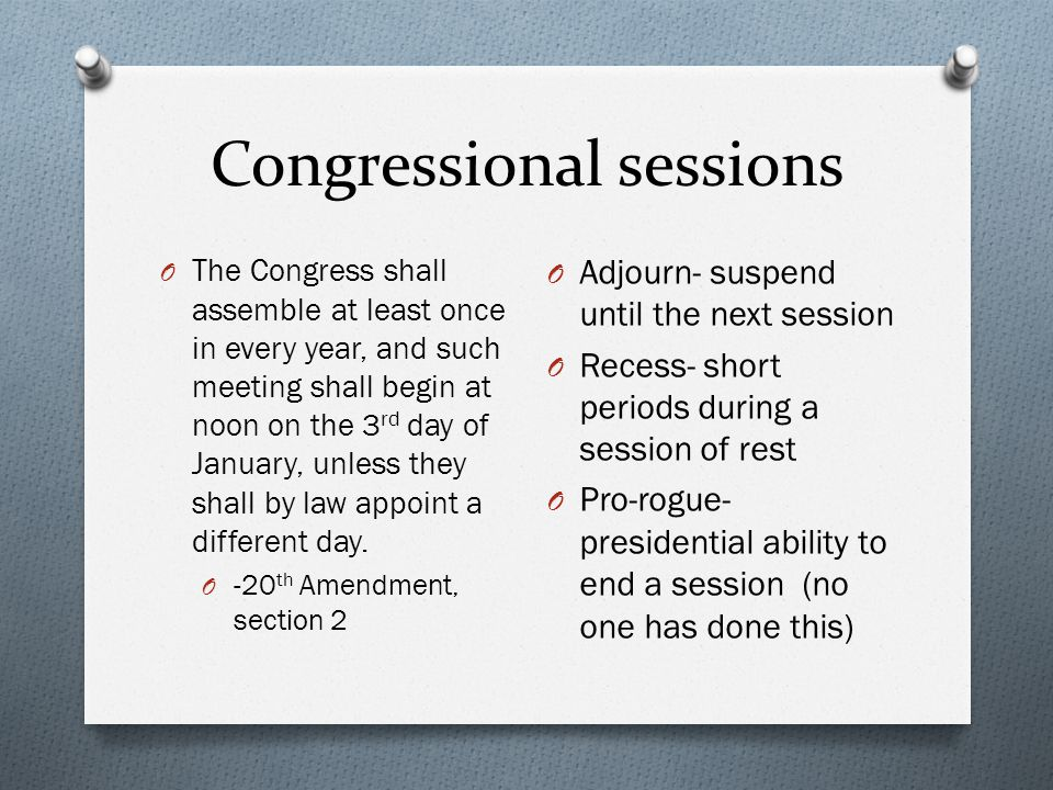 Congressional sessions