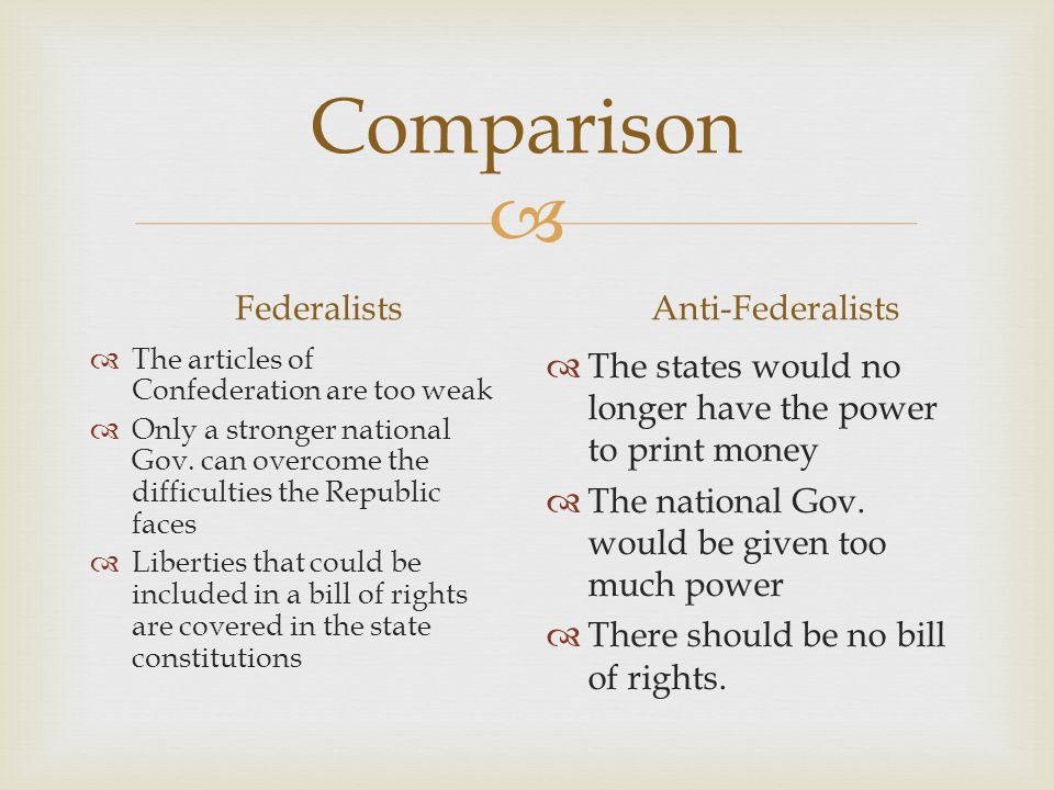 Comparison Federalists Anti-Federalists