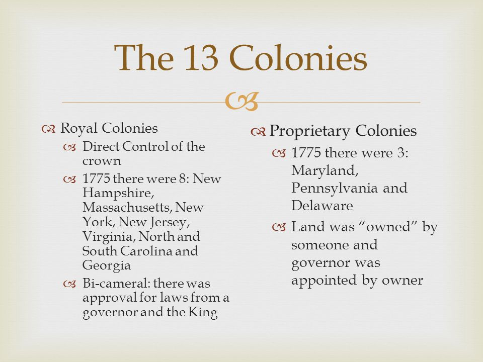 The 13 Colonies Proprietary Colonies Royal Colonies