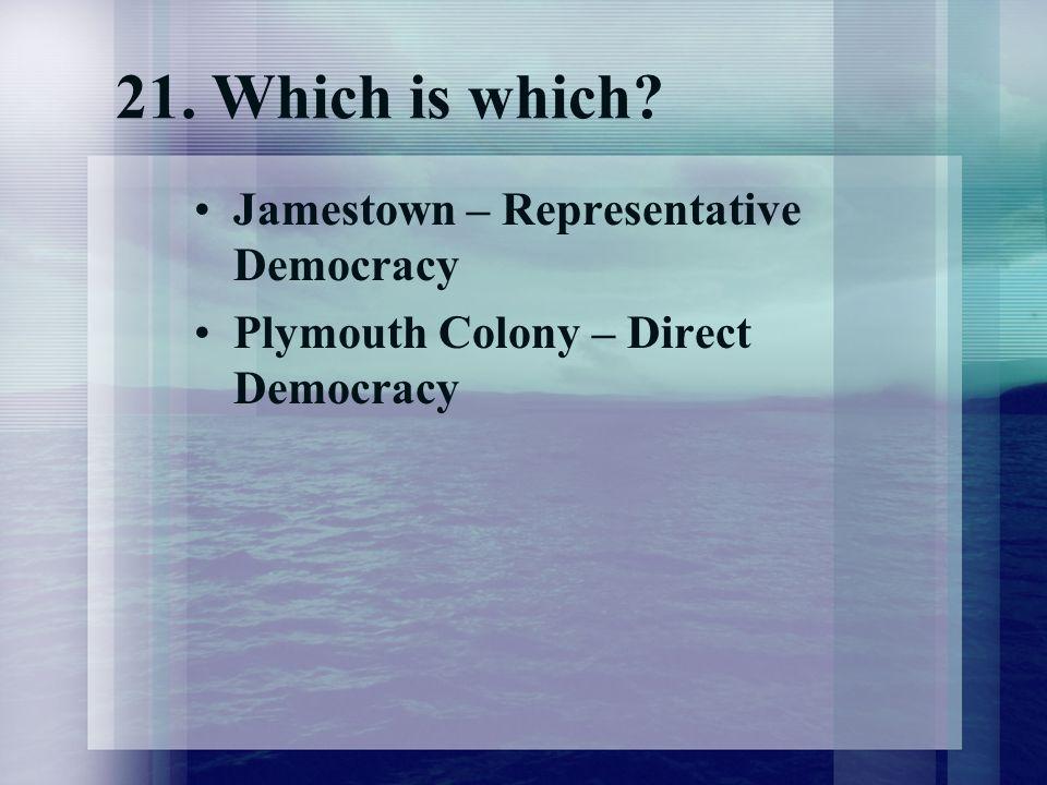 21. Which is which Jamestown – Representative Democracy