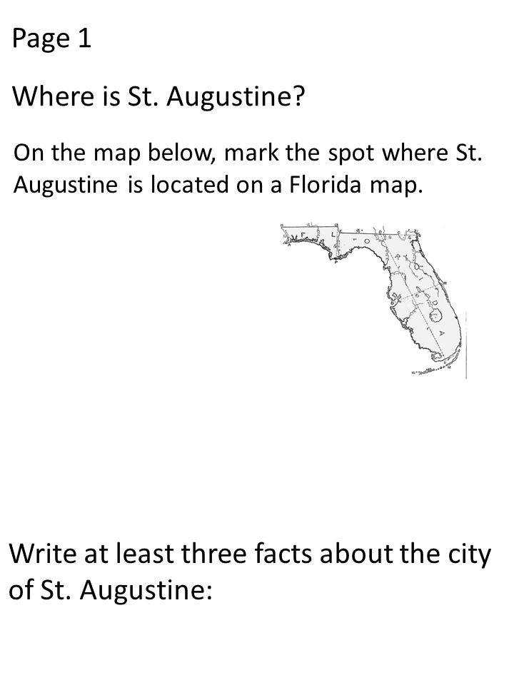 Write at least three facts about the city of St. Augustine: