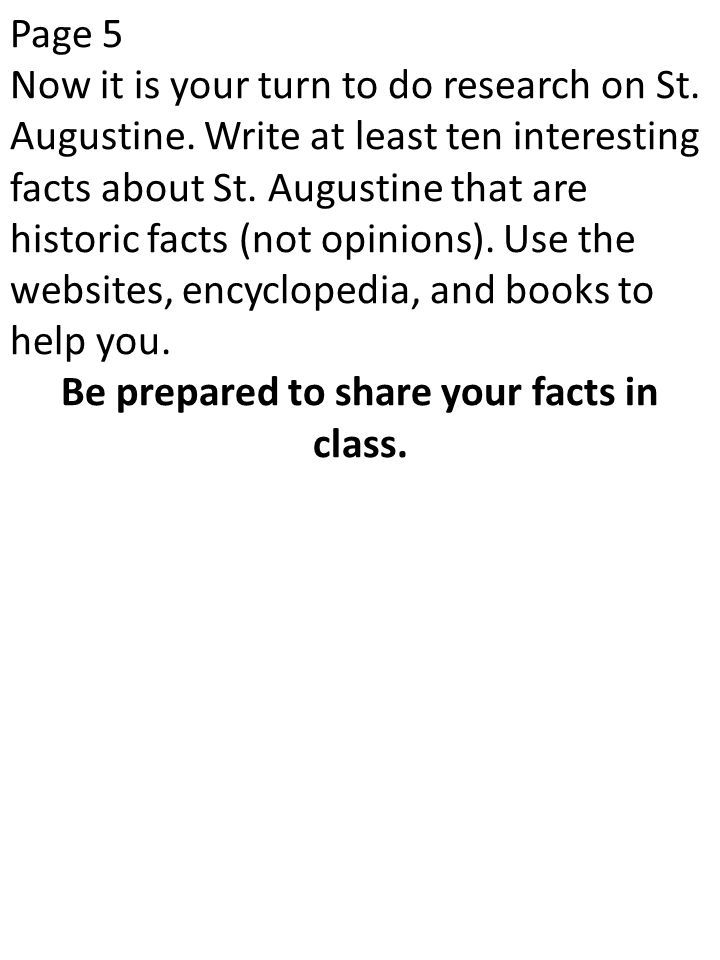 Be prepared to share your facts in class.