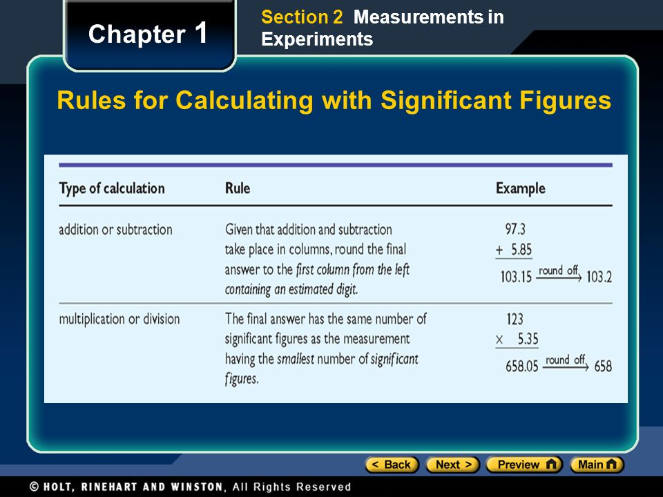 Rules for Calculating with Significant Figures