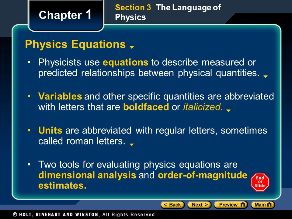 Chapter 1 Physics Equations