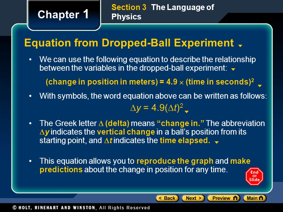Equation from Dropped-Ball Experiment