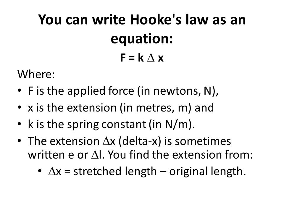You can write Hooke s law as an equation: