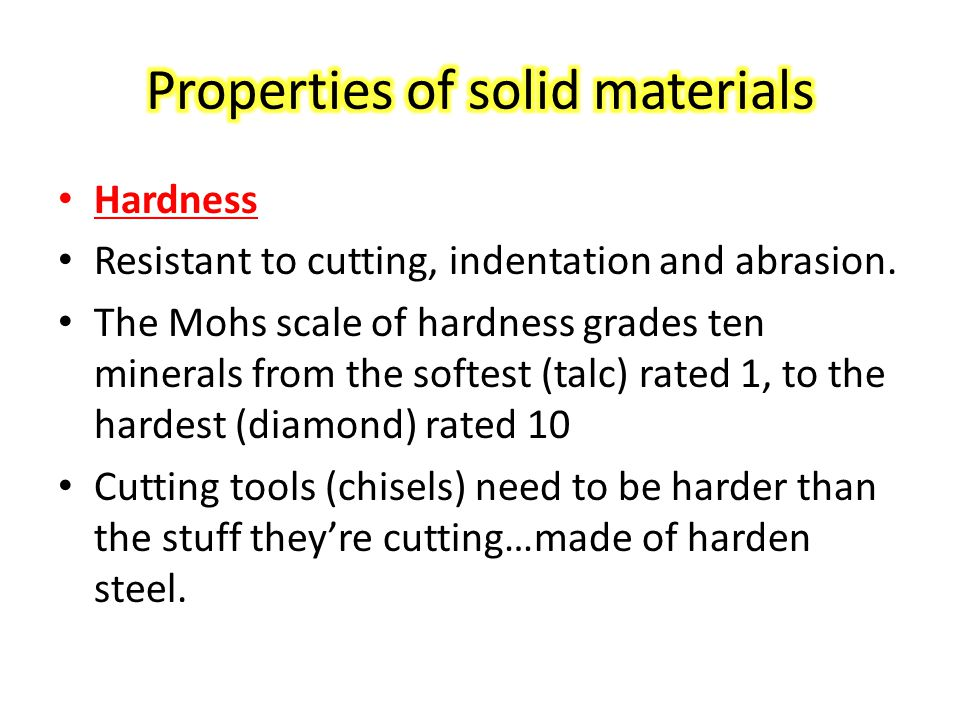 Properties of solid materials