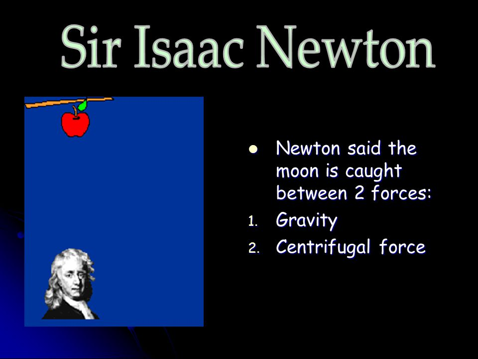 Sir Isaac Newton Newton said the moon is caught between 2 forces:
