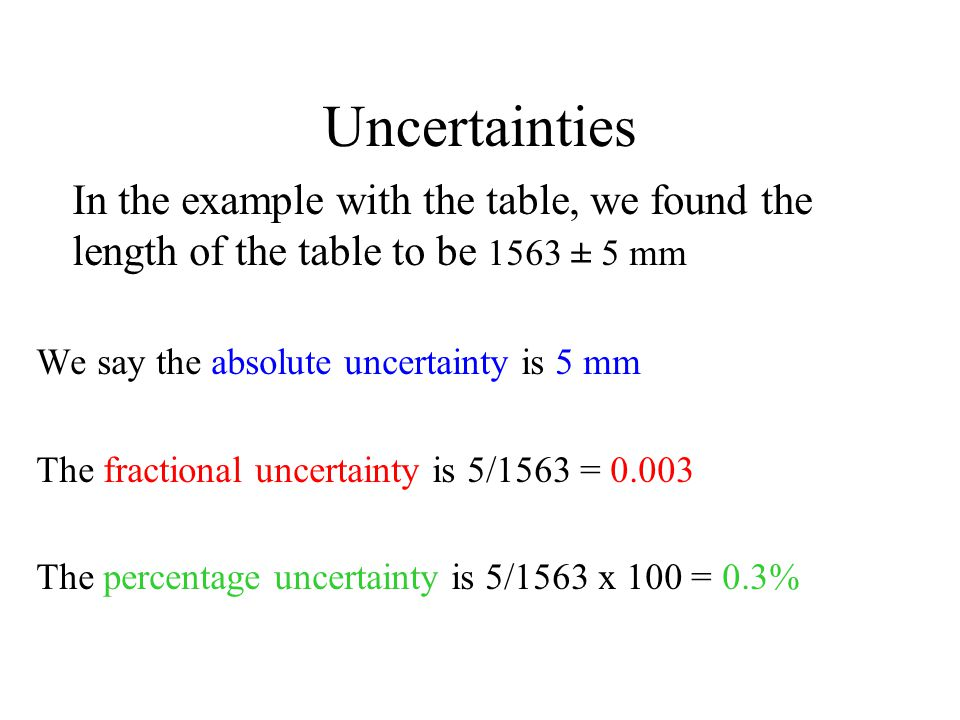 Uncertainties In the example with the table, we found the length of the table to be 1563 ± 5 mm. We say the absolute uncertainty is 5 mm.