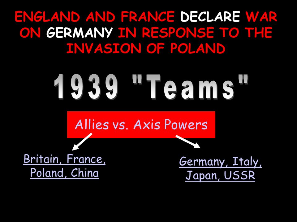ENGLAND AND FRANCE DECLARE WAR ON GERMANY IN RESPONSE TO THE INVASION OF POLAND