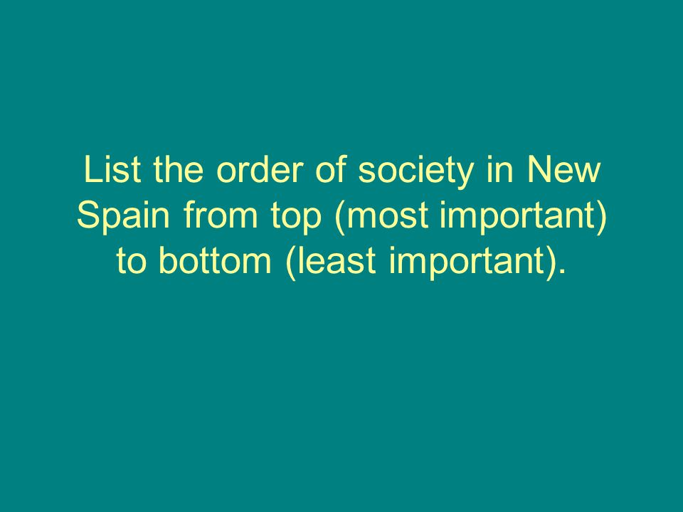 List the order of society in New Spain from top (most important) to bottom (least important).