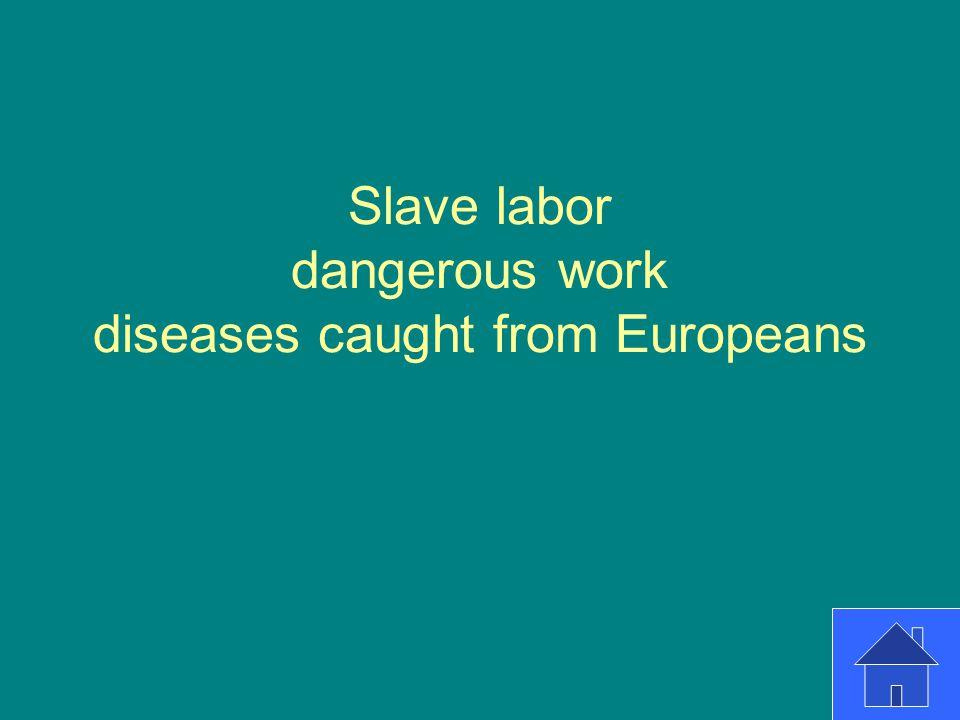 Slave labor dangerous work diseases caught from Europeans