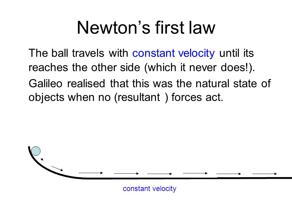Newton's first law The ball travels with constant velocity until its reaches the other side (which it never does!).