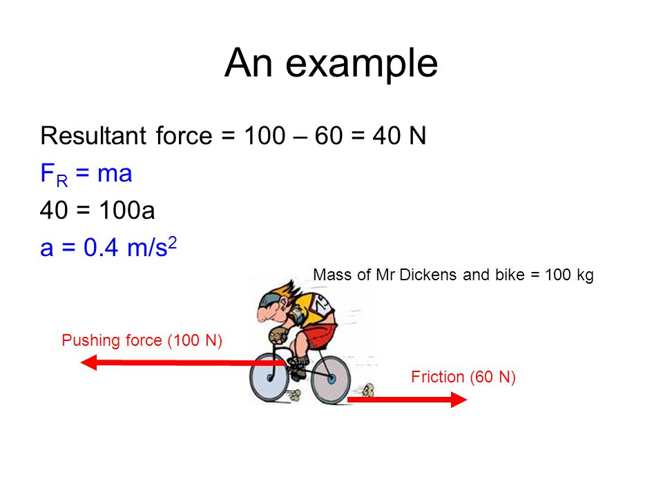 An example Resultant force = 100 – 60 = 40 N FR = ma 40 = 100a