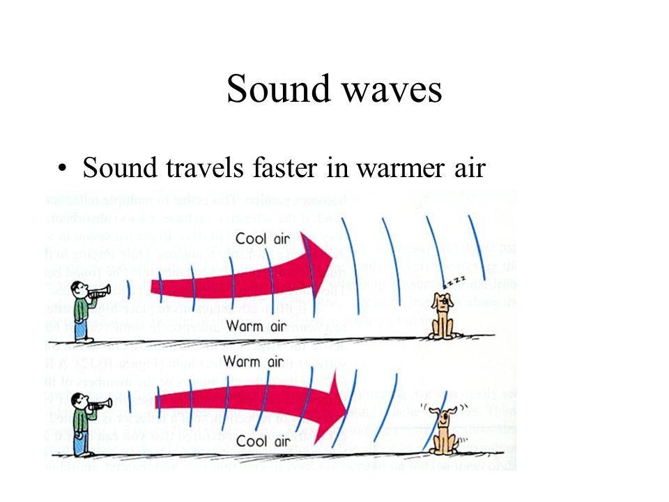 Sound waves Sound travels faster in warmer air