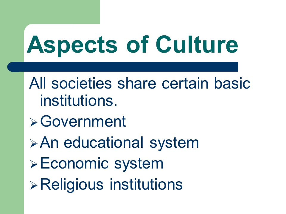 Aspects of Culture All societies share certain basic institutions.
