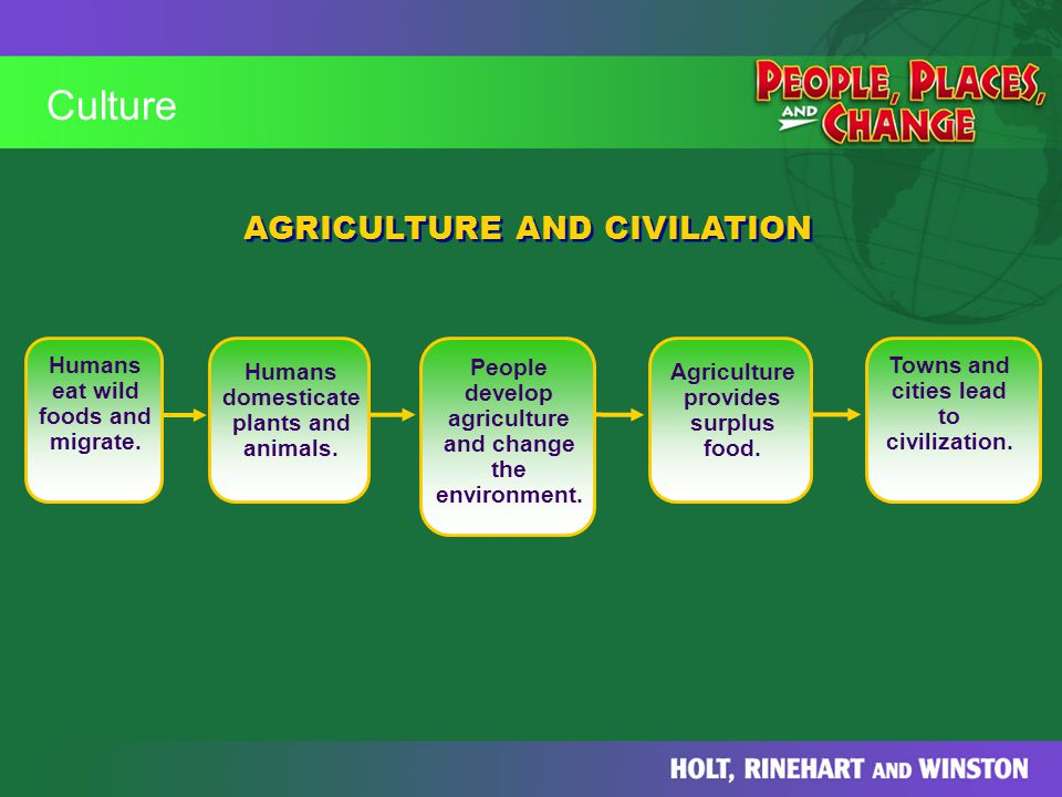 Culture AGRICULTURE AND CIVILATION Humans eat wild foods and migrate.