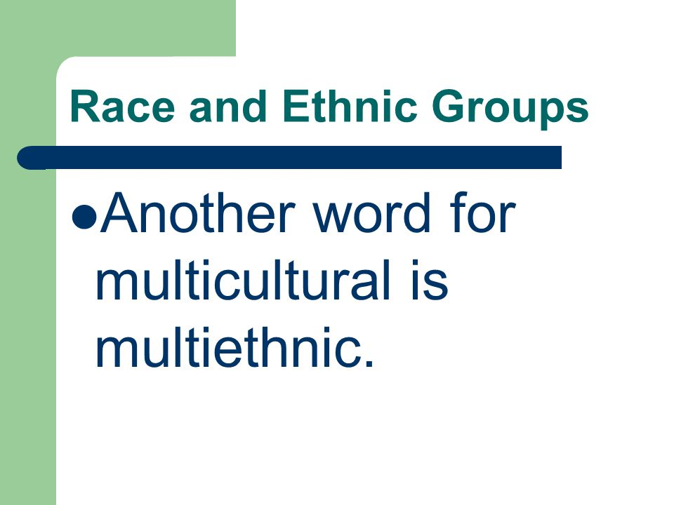 Another word for multicultural is multiethnic.