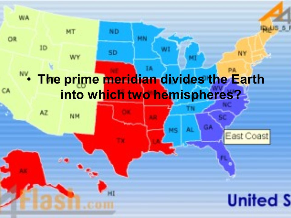 The prime meridian divides the Earth into which two hemispheres
