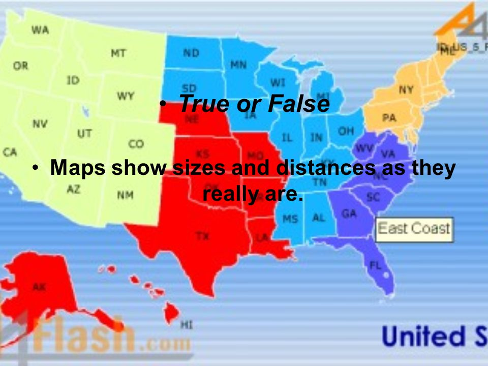 Maps show sizes and distances as they really are.