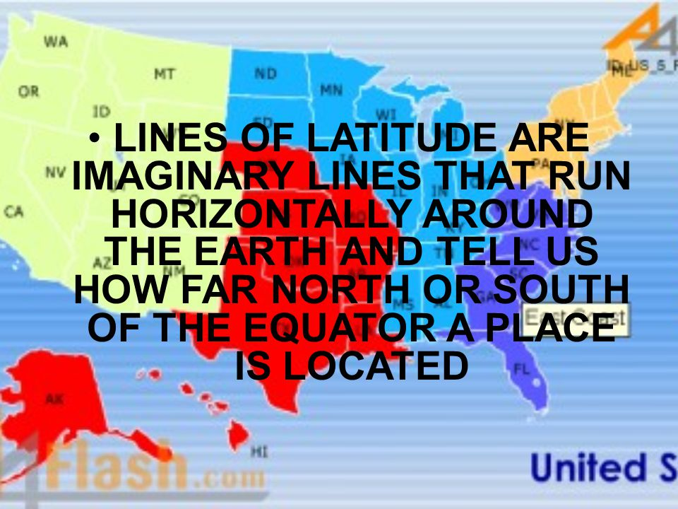 LINES OF LATITUDE ARE IMAGINARY LINES THAT RUN HORIZONTALLY AROUND THE EARTH AND TELL US HOW FAR NORTH OR SOUTH OF THE EQUATOR A PLACE IS LOCATED