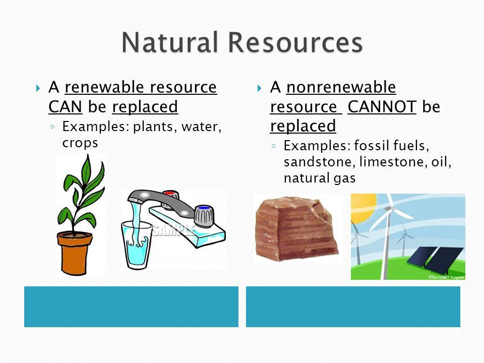 Natural Resources A renewable resource CAN be replaced