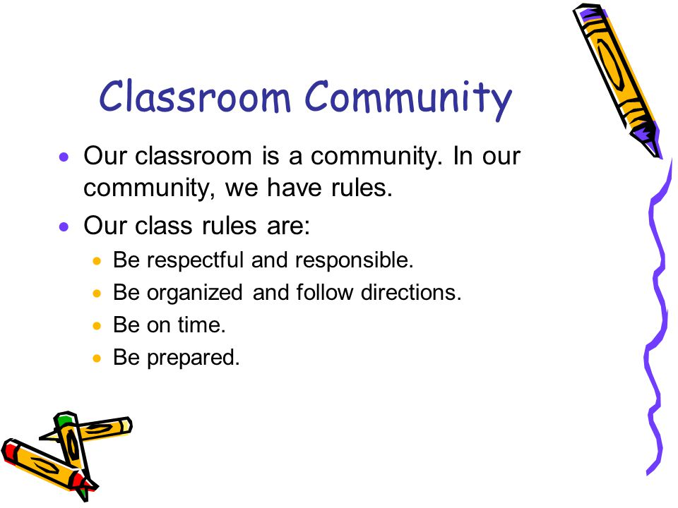 Classroom Community Our classroom is a community. In our community, we have rules. Our class rules are: